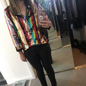 Alice + Olivia Rainbow Sequin Keir Pajama Top